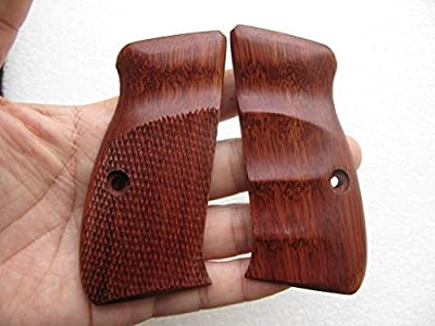 New Grip for CZ 75/85 Compact Size, Half checkered & Smooth Finger groove, Hardwood, Thai Handmade #1