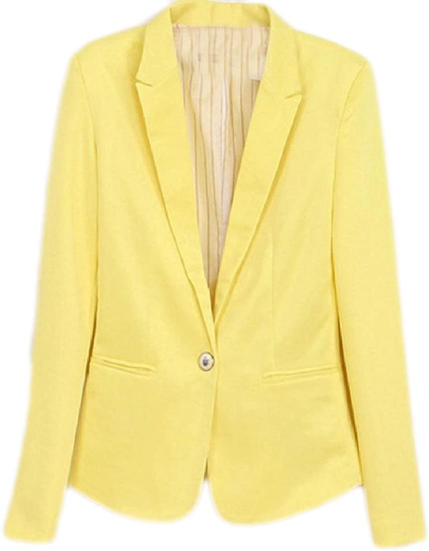 WANSHIYISHE Women One Button Slimming Solid Color Long Sleeve Blazer Jacket