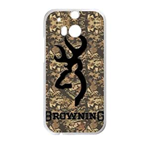 Qezi Brown Leaves Browning Cutter Logo HTC One M8 Cell Phone Cases Cover(Laster Technology)