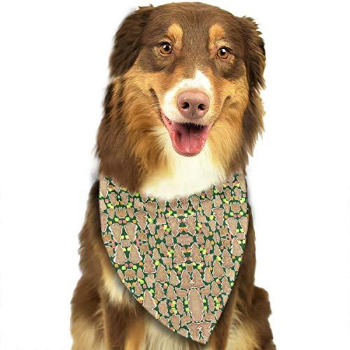 GYDHSN Gingerbread Trees Moose and Gumdrops Fabric Dog Bandanas Washable Triangle Adjustable Dog Scarf
