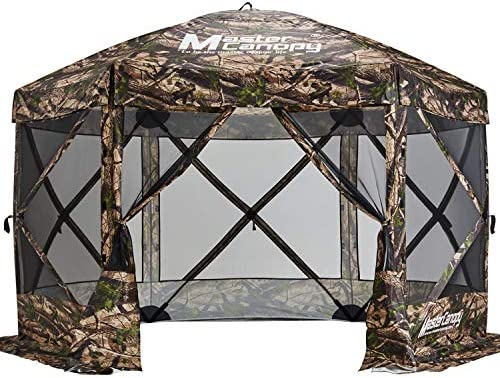 MASTERCANOPY Escape Shelter, 6-Sided Canopy Portable Pop up Canopy Durable Screen Tent Bug and Rain Protection 7-9 Person , 140×140, Camouflage