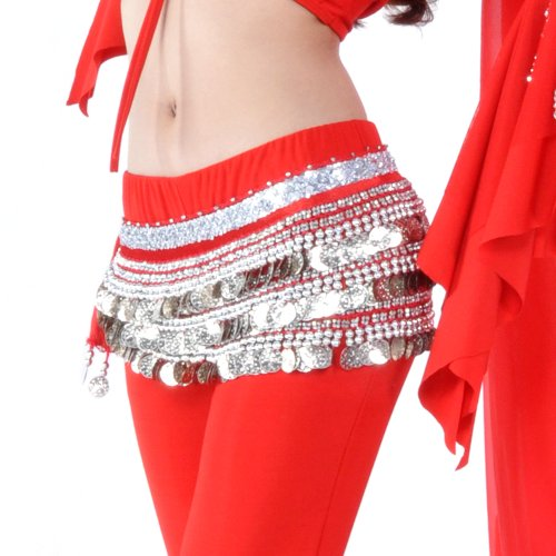 BellyLady Belly Dance Hip Scarf, Multi-Row Silver Coin Dance Skirt, Gift -