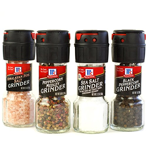 McCormick Salt and Pepper Grinders (Himalayan Pink Salt, Peppercorn Medley, Sea Salt, Black Peppercorn), 4 (Pepper Set)