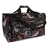 Riah Fashion Women's Cute Print Duffel Bag (Black- Red)