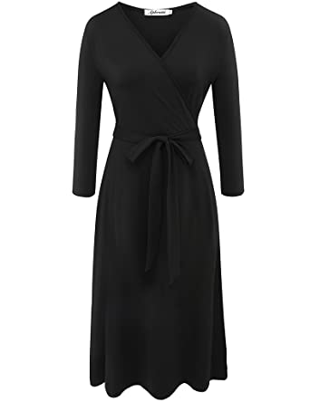 4e51a7e83c3f Aphratti Women's 3/4 Sleeve V Neck Wrap Front Casual Cocktail Dress Small  Black