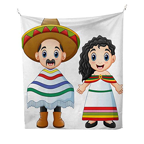 25 Home Decor Tapestries Wall hangings Cartoon Mexicans Couple Wearing Traditional Costumes Tapestries Hippie 54W x 72L INCH