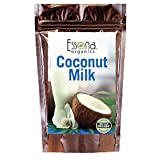 Organic Coconut Milk Powder 100 % Pure Concentrated Powder - From Essona Organics - 180 grams in a convenient, resealable pouch.