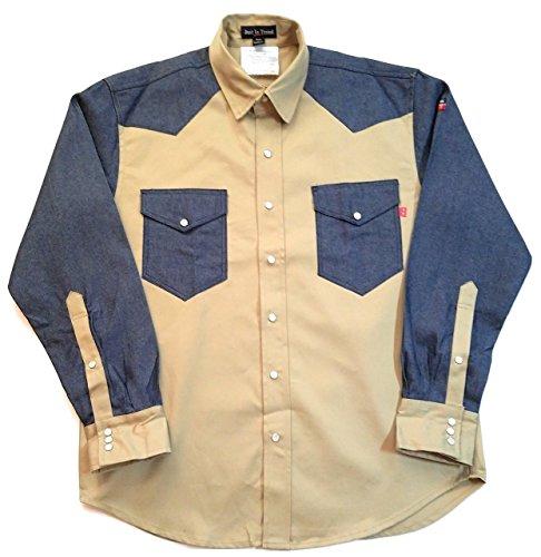 Flame Resistant FR Shirt - 88/12 - Western Style - Two Tone (Small, Khaki/Denim) (Two Khaki Tone)