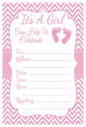 Pink Baby Feet - Girl Shower Invitations - Fill In Style (20 Count) With Envelopes (Invitations Pink Shower Baby)