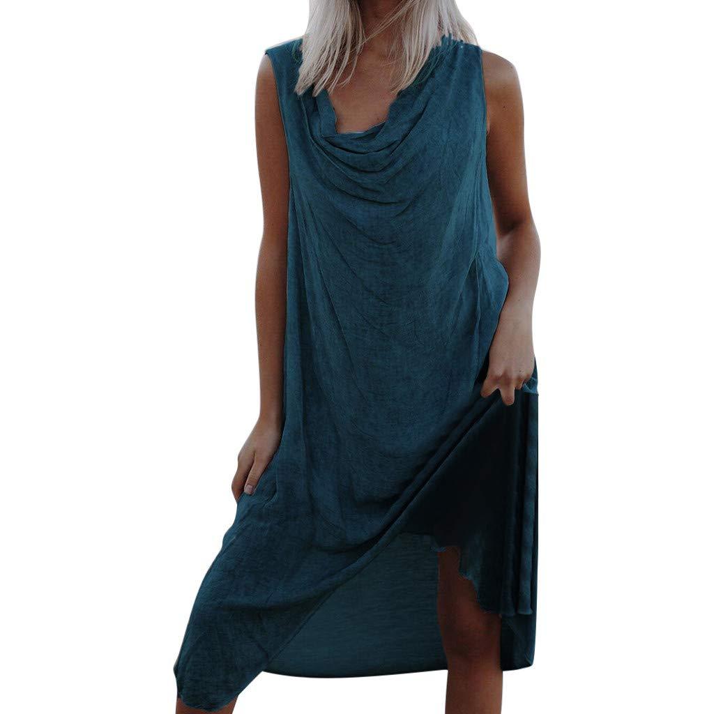ZOMUSAR Fashion Women Summer Solid Sleeveless Fold Asymmetrical Boho Beach Holiday Dress Green