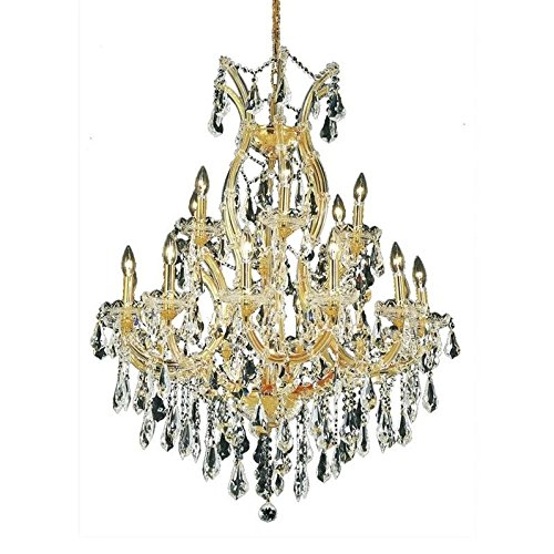 Crystal Swarovski Collection Strass - Elegant Lighting 2801D32G/SS Theresa Collection 19-Light Hanging Fixture with Swarovski Strass/Elements Crystal, Gold Finish