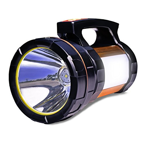 Super Torch Bright Flashlight - Odear Double side lights Spotlight High-power Super Bright 9000MA 6000 LUMENS Rechargeable LED Searchlight Lantern Flashlight (Golden)