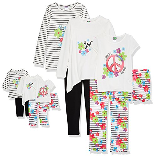 Dollie & Me Girls' Big 6 Pc Knit Multi Wear Set with Doll Outfits, Black/White/Pink, XS ()