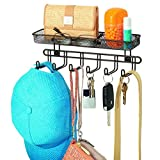 "InterDesign 44141 Classico Wall Mount Entryway Organizer for Keys, Hats, Wallets, Clutch Purses, Cell Phones, Sunglasses, 11"", Bronze"