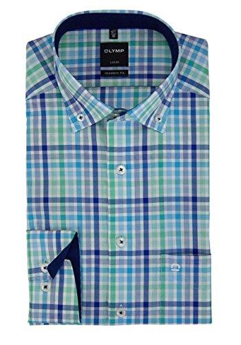 OLYMP Luxor modern fit Hemd extra kurzer Arm Karo blau AL 58