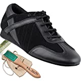 Men's Ballroom Latin Salsa Sneaker Dance Shoes Leather Black SERO106BBXEB Comfortable - Very Fine 8.5 M US [Bundle of 5]