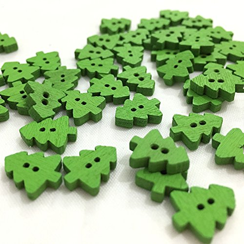 OZXCHIXU (TM) 100 Pcs Green 2 Holes Christmas Tree Small Wooden Buttons 13mm , for Sewing, Scrapbooking Crafts