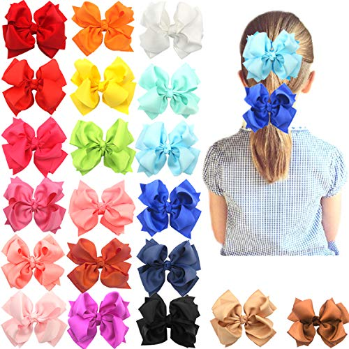 - 20PCS 4 Inch Double Layers Big Bows Baby Girls Hair Bows Alligator Hair Clips for Girls Toddlers Kids Teens Any Occasion