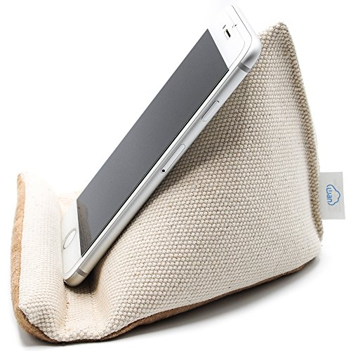 Natural Series - Sleek, Mobile Phone Pillow Stand with Thick Canvas Fabric Outer and Heavy Bean Filling, for the Home or Office (Natural White, Medium) by Wan Living