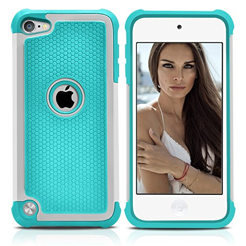 Ipod Carbon Fiber Skin - iPod Touch 5 Case, MagicMobile Hybrid [Dual Armor Series] Durable Impact Resistant [Shockproof] Hard Rugged Plastic + Rubber Silicone Skin Protective Case for iPod Touch 5th Gen [Mint Green - Gray]