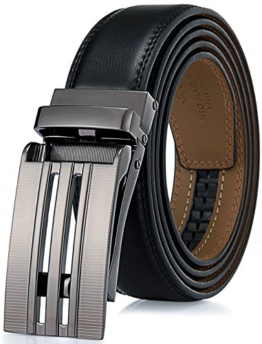 Marino Avenue Men's Genuine Leather Ratchet Dress Belt with Linxx Buckle - Gift Box (Black Glossy Grid Buckle With Black Leather, Adjustable from 38
