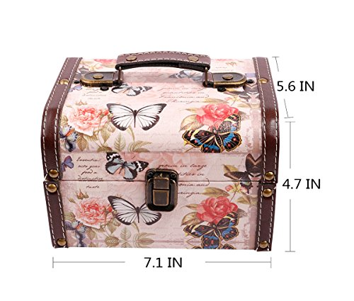 WaaHome Butterfly Wooden Treasure Boxes Decorative Jewelry Keepsakes Box for Kids Girls Women Gifts,Pink (7.1''X5.6''X4.7'') by WaaHome (Image #2)