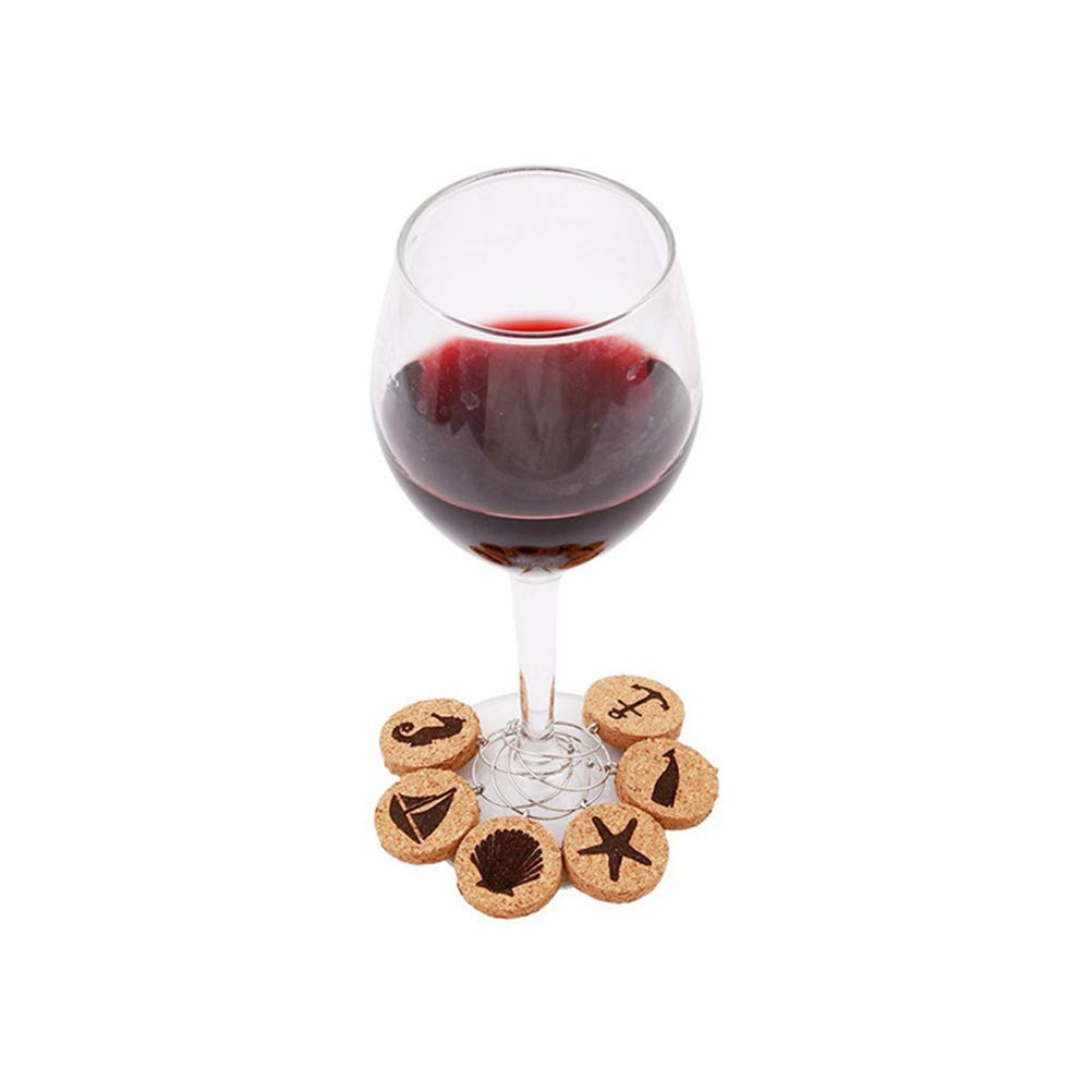 BESTONZON 6pcs Wood Wine Glass Marker Charms Petals Design Drinking Glass Identifiers for Party Wine Lovers