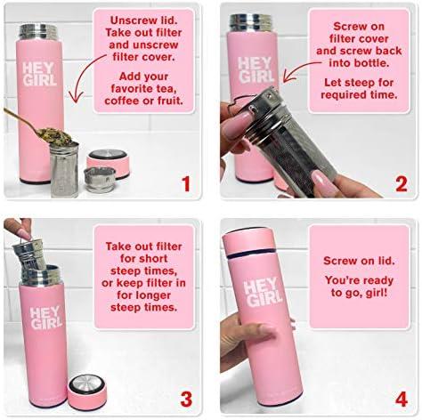 Hey Girl Tea Infuser Bottle - Travel Tea Tumbler Herbal Loose Leaf Tea , Tea Bags , Pink 15oz 450ml 5