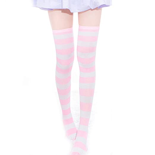 2e0c4a456eb SHEMILY Women Girls Over Knee Long Stripe Printed Thigh High Striped  Patterned Socks Japan School Girls