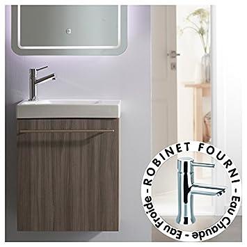 planetebain lave mains complet avec meuble couleur olme gris et mitigeur eau chaudeeau