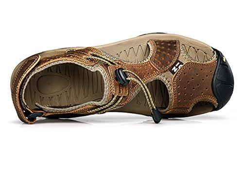 Uminder Mens Sandales De Sport Sentier En Plein Air Plage De Leau De Randonnée En Cuir Chaussures Marron