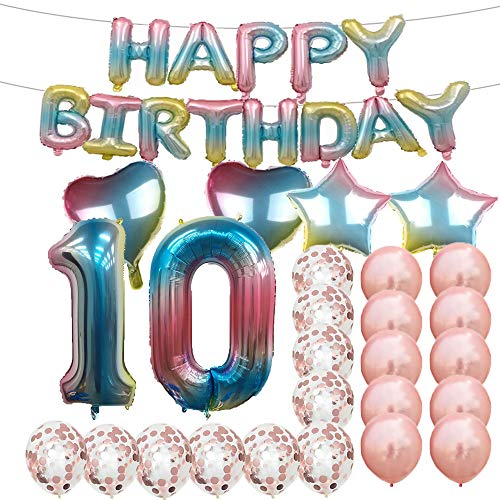 Sweet 10th Birthday Decorations Party Supplies,Rainbow Number 10 Balloons,10th Foil Mylar Balloons Rose Gold Latex Balloon Decoration,Great 10th Birthday Gifts for Girls,Women,Men,Photo Props