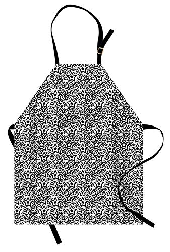 Lunarable Star Apron, Retro Design Pentagram Stars Rockstar Pattern Abstract Imagery Print, Unisex Kitchen Bib Apron with Adjustable Neck for Cooking Baking Gardening, Charcoal Grey White]()