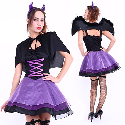 Heaven And Hell Party Costumes (Club Queen -- Purple Devil Dress Costume -- XS to Small Size)