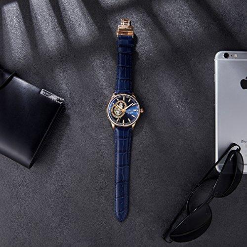 Reef Tiger Luxury Tourbillon Watch Mens Genuine Leather Strap Analog Automatic Watches RGA1639