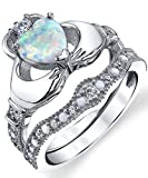 Sterling Silver 925 Heart Shape Claddagh Engagement Ring Wedding Bridal Sets with White Simulated Opal 8