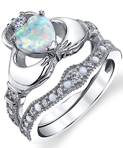 Sterling Silver 925 Heart Shape Claddagh Engagement Ring Wedding Bridal Sets with White Simulated Opal -