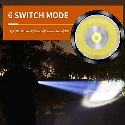 superbrillante linterna t/áctica militar linterna de enfoque ajustable Linterna LED de carga USB USB LED potente lumen ajustable 200000 l/úmenes