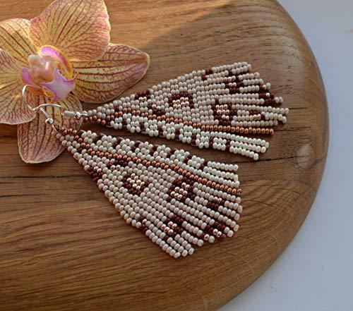 Leopard Beaded Fringe earrings summer Tassel long handwoven boho jewelry gifts for her triangle