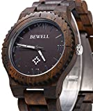 BEWELL-ZS-W065A-Men-Wooden-Watch-Roman-Numeral-Scales-Ebony-Wood-Quartz-Wrist-Watch-FBA