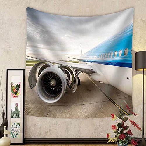 Gzhihine Custom tapestry Airplane on the airport. Checking condition of huge engine - Fabric Wall Tapestry Home - Airport Outlet Chicago