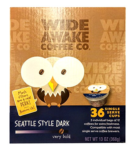 (Wide Awake Coffee Seattle Style Dark Single Serve Cups 13oz (36 Count Box))