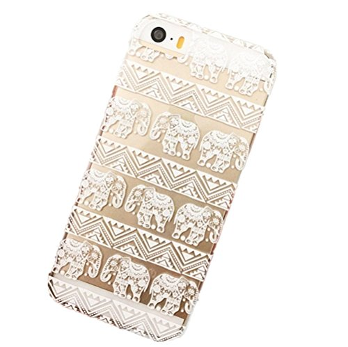 EVERMARKET(TM) Clear Henna Lotus Floral Elephant Hindu Ganesh TPU Soft Rubber Case Cover for Apple iPhone 6 4.7 Inch