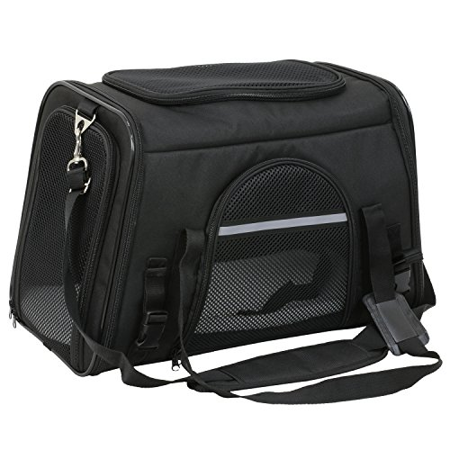 (X-ZONE PET Airline Approved Pet Carriers,Comes with Fleece Pads Soft Sided Pet Carrier for Dog & Cat (Large, Carbon Black))
