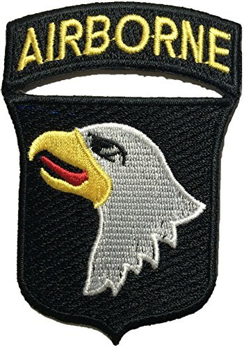 101st AIRBORNE Divisions Screaming Eagle Sew Iron on Embroidered Applique Badge Sign Costume Paratrooper Shoulder Patch - Black By Ranger Return (RR-IRON-AIRB-DIVI-EAGL-BLCK)