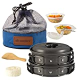Camping Cookware Pot & Pan Set Mess Kit Backpacking Outdoor Cooking Bowl Made Of Lightweight Aluminum Material Small & Compact Foldable Handles