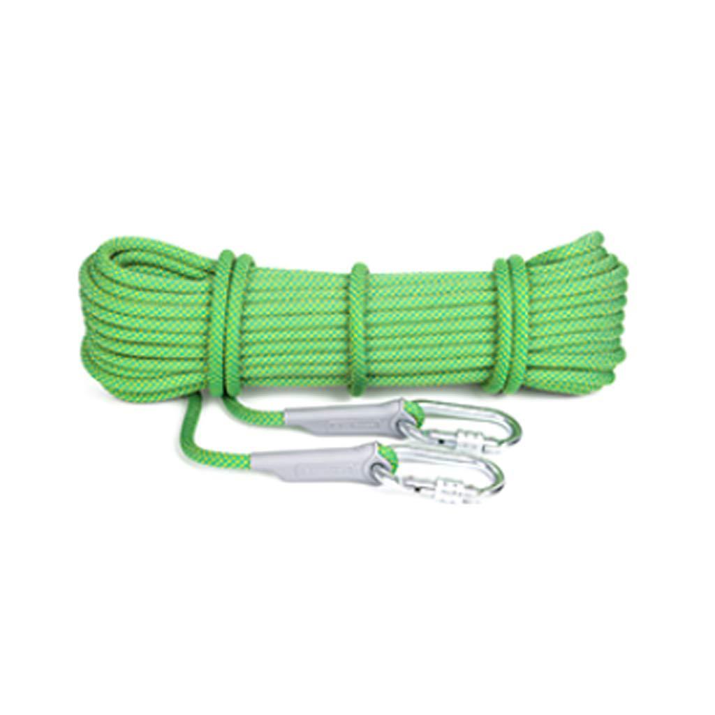 クライミングロープ、50メートル、屋外避難救助ヘビーデューティーセーフ丈夫ロープ、直径14ミリメートル安全ロープ (色 : 緑, サイズ さいず : 50m)