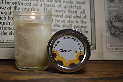 Clothesline 8oz mason jar soy candle, Free Shipping, heavily Scented, 35+ hours burn time, Half pint mason jars, Hand poured candles, strongly scented, dye free, natural candles, Phthalate -