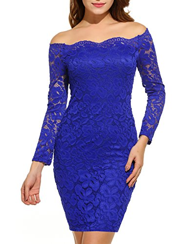 ACEVOG Women's Off Shoulder Lace Dress Long Sleeve Bodycon Casual Dresses (Large, Blue)