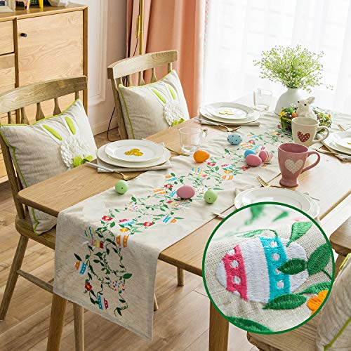 Cassiel Home Embroidery Easter Day Table Runners 72inch Easter Egg and Bunny Embroidery Table Cloths 14x72